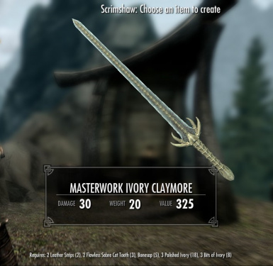 Masterwork Ivory Claymore - normal and crude versions available