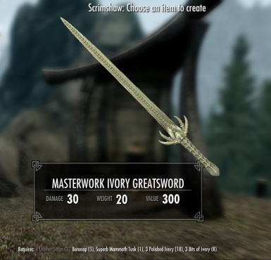 Masterwork Ivory Greatsword - normal and crude versions available