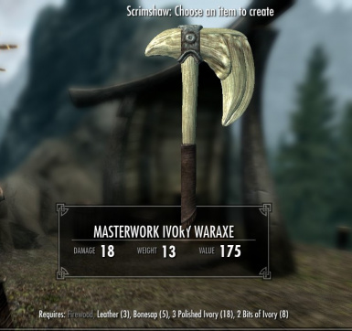 Masterwork Ivory Waraxe - normal and crude versions available