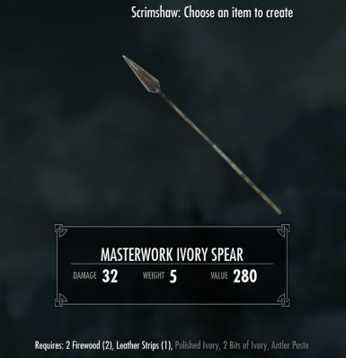 Masterwork Ivory Spear - requires Immersive Weapons and Immersive Weapons Patch
