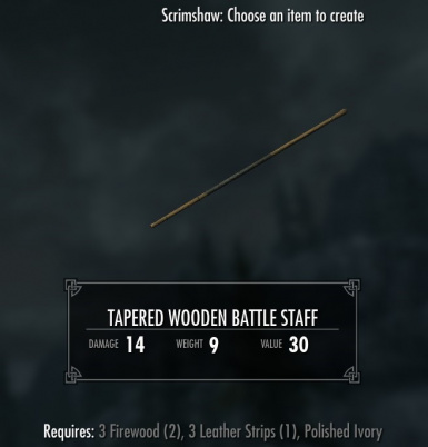 Tapered Wooden Battle Staff - requires Immersive Weapons and Immersive Weapons Patch