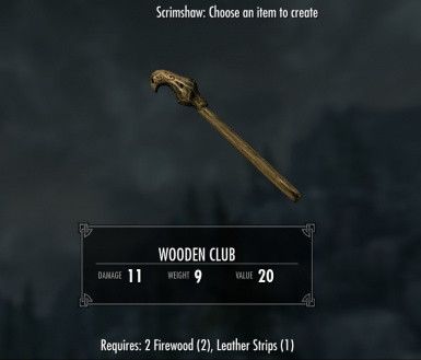 Wooden Club - requires Immersive Weapons and Immersive Weapons Patch