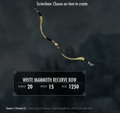 White Mammoth Recurve Bow - requires Immersive Weapons and Immersive Weapons Patch