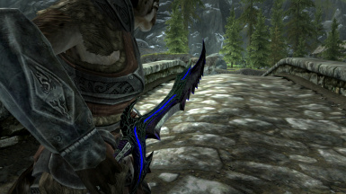 Daedric Sword Black and Blue Retexture