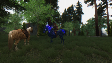 Vanilla and Dawnguard horses Frost and Arvak on Summerset Isle