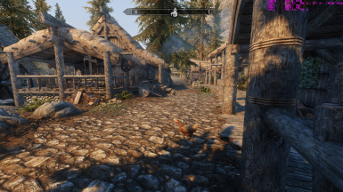 Riverwood with Vanilla textures and Parallax roads