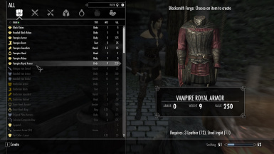 Craftable unarmored vampire gear for mage vampires