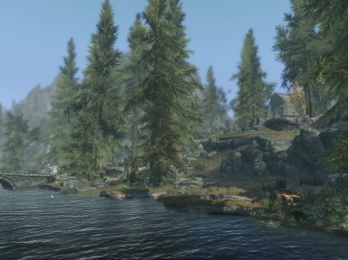 Location of Priory - White River and road to Whiterun are in foreground and Riverwood bridge is on left