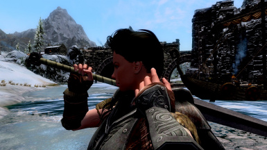 Outside Windhelm - moving her hair