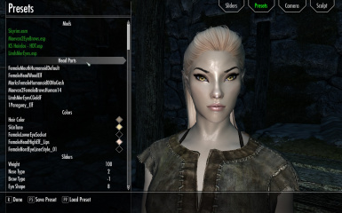 Race Menu Wood Elf female preset