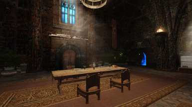 Dragonfall Castle desaturated banners and rugs 2