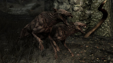 Zombie Dogs and Skinned Hounds- Mihail Monsters and Animals (mihail immersive add-ons- shivering isles- witcher)