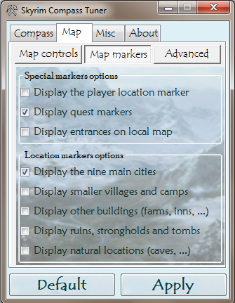 Map markers options