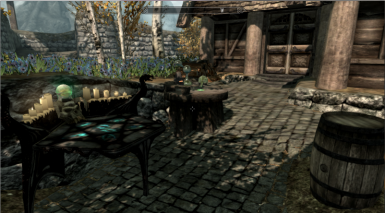 whiterun enchant and alchemy table plus extra wood block near blacksmith