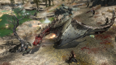 A dragon landed itself right in the middle of the warzone