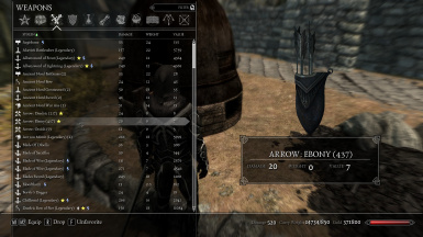 Weapons Tab - Arrows