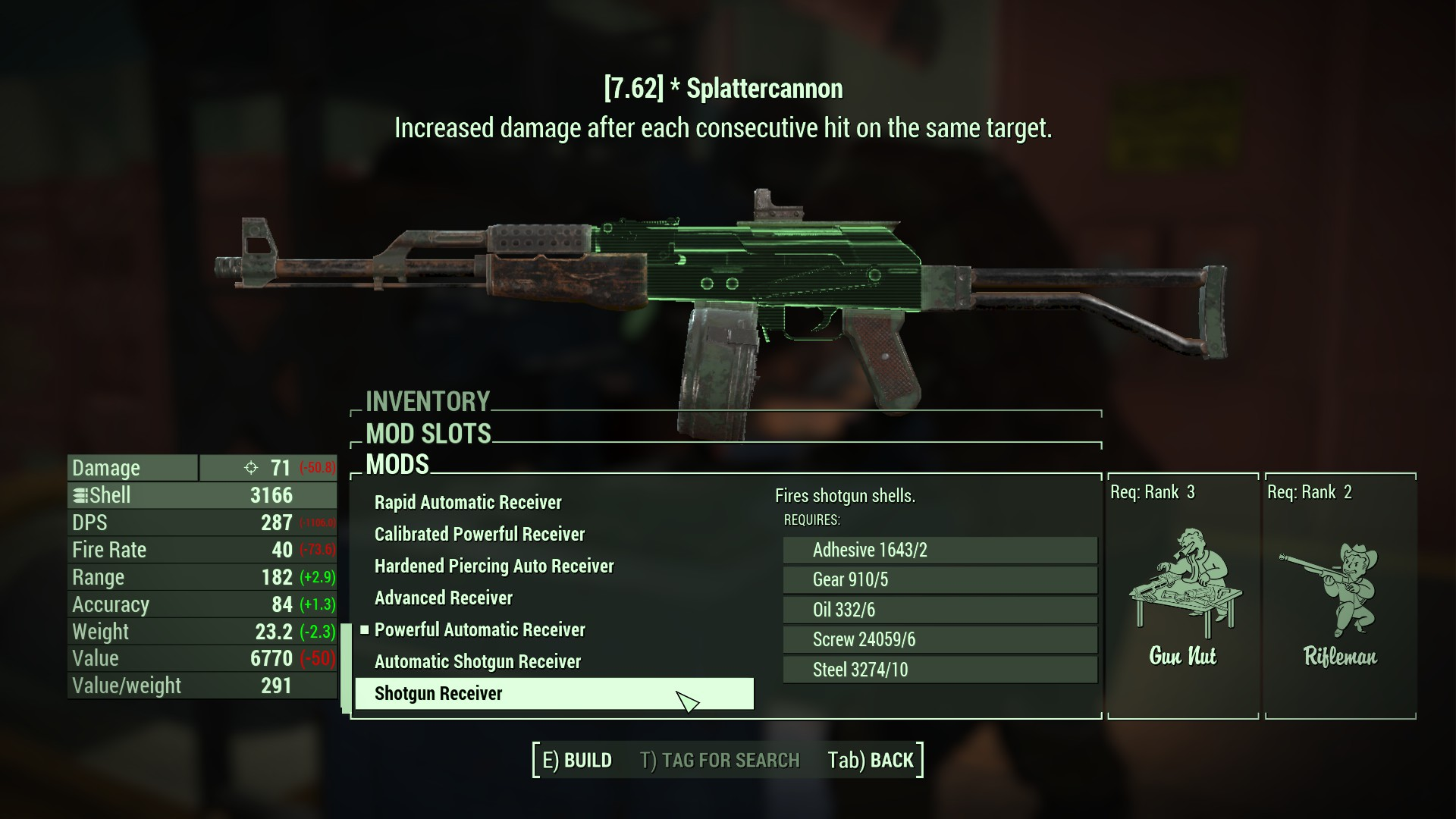 fallout 4 how to give handmade rifle