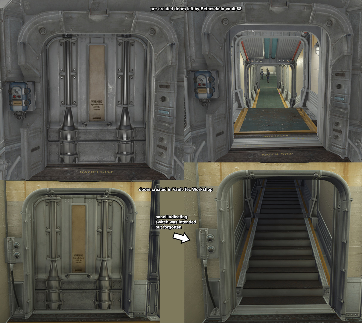 The door panels have placeholders for the panels on the left side of the door on each side (e.g. opposite sides). This leads one to believe that Bethesda ... & Vault 88 Door Switch Fix - Override Boxes added at Fallout 4 Nexus ...