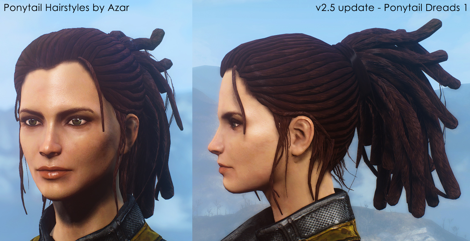 Excellent Ponytail Hairstyles By Azar V2 5A At Fallout 4 Nexus Mods And Short Hairstyles Gunalazisus