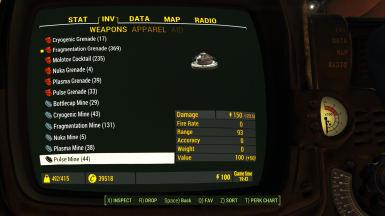 Pipboy2 Inventory1 Weapons2 Explosives 1 1