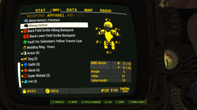 Pipboy2 Inventory2 Apparel2 Screen