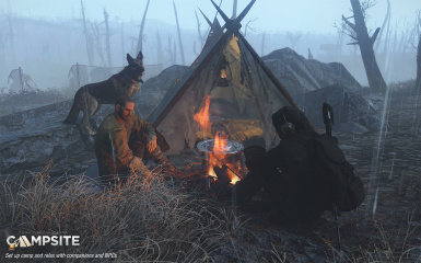 in game camp site with npc