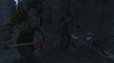 Raiders with melee weapons