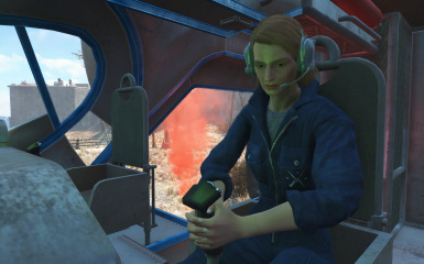 Female pilot with headset at work