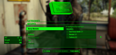 Berry Mentats Intelligence Only at Fallout 4 Nexus - Mods
