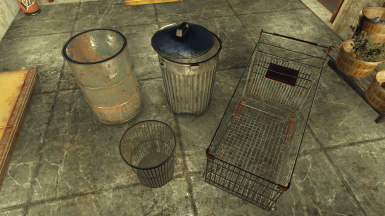 Trash Cans and Shopping Cart