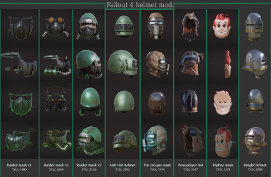 All helmets rendered in Quixel