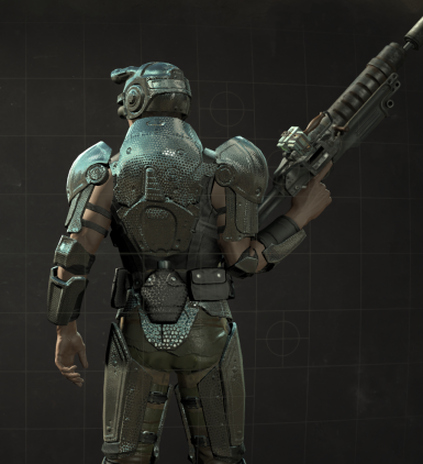 carbon chrome combat armor with reflection