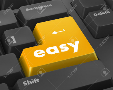 42254138 keyboard with easy button Stock Photo