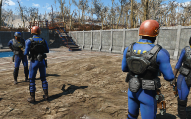 Vault-Tec combat instructors and recruits with holstered 10mm pistols