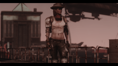 Cait with this preset my muscular tweak wearing Wasteland ranger armor by Anataron