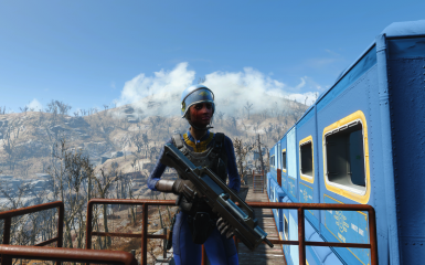 A Vault-Tec guard armed with a Morita Battle Carbine