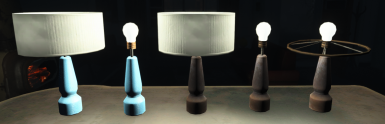 Light Blue and Scavanged Table Lamp