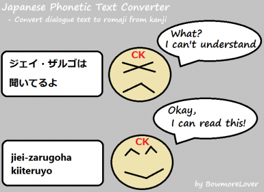 Japanese Phonetic Text Converter - Convert dialogue text to romaji from kanji