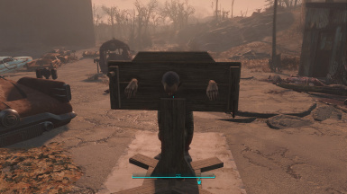 A NPC restrained in a pillory