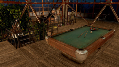 Added pool table and workout bench