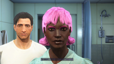 Dark skinned woman with Hot Pink