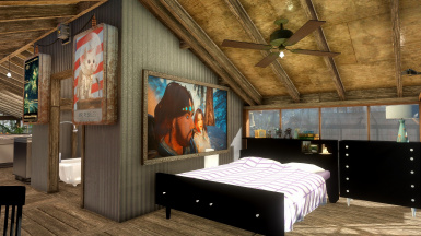 Player bedroom with my own Skyrim painting