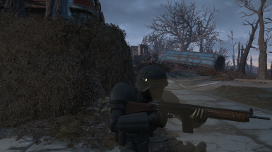 R91 assault rifle with original combat armor goes good together