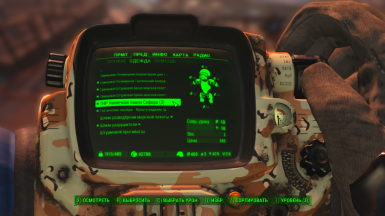 Example of translate in pip-boy menu the description of TNR shoulder lamp 1