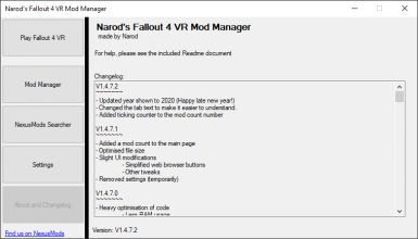 Narod's Fallout 4 VR Mod Manager - v1.4.7.3
