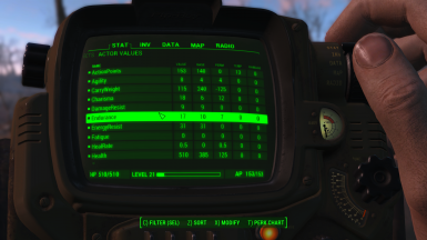 Pip-Boy: Actor Values Tab