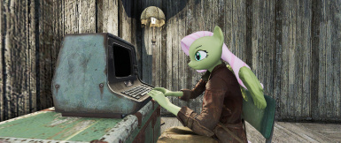 Fluttershy, shying away at the terminal.