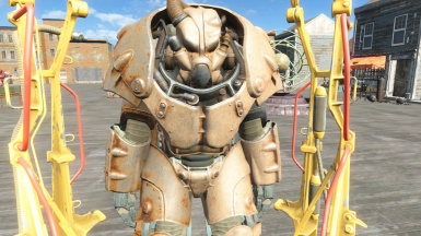 Helm, chest,  left arm and leg are tan