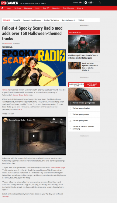 PC Gamer Featured Spooky Scary Radio!