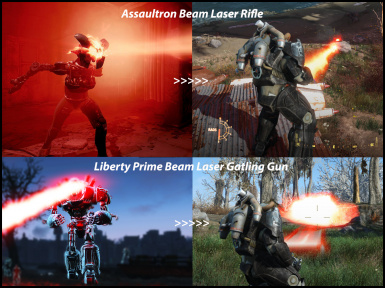 Assaultron Beam Laser Rifle Attachment and Liberty Prime Laser Gatling Gun Attachment